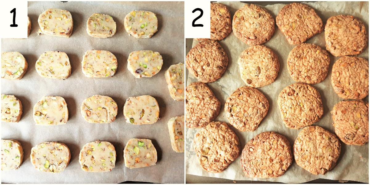 Two images showing pistachio butter cookies before and after being baked.