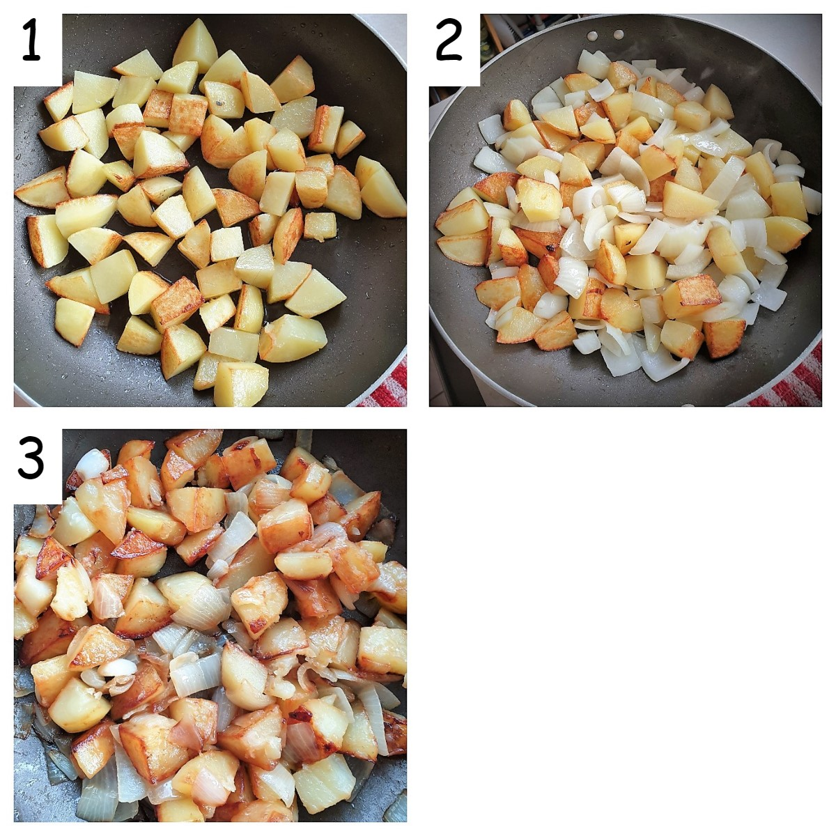 Three images showing steps for making saute potatoes.