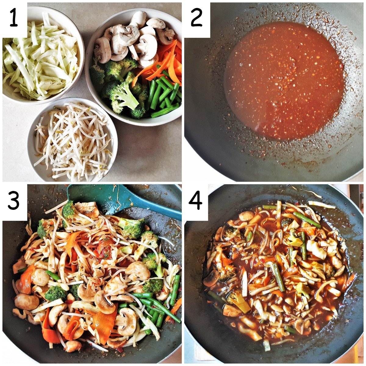 A collage of 4 images showing the steps for cooking the vegetables in the szechuan sauce.