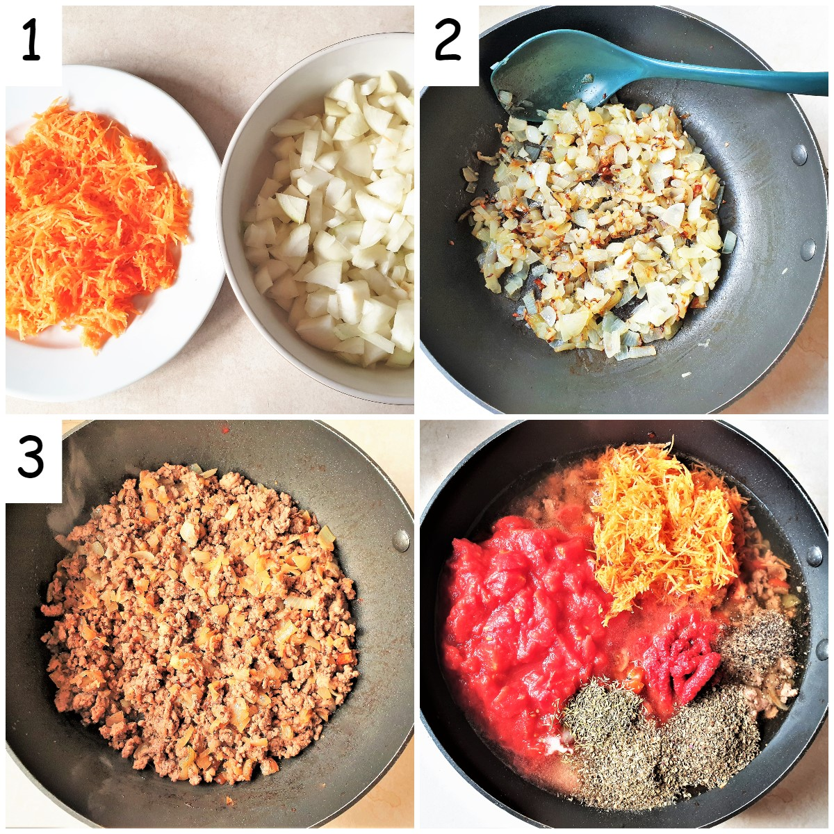 Steps for making spaghetti bolognese sauce.