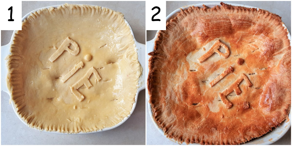 An unbaked pie covered in raw pastry and a browned baked pie.