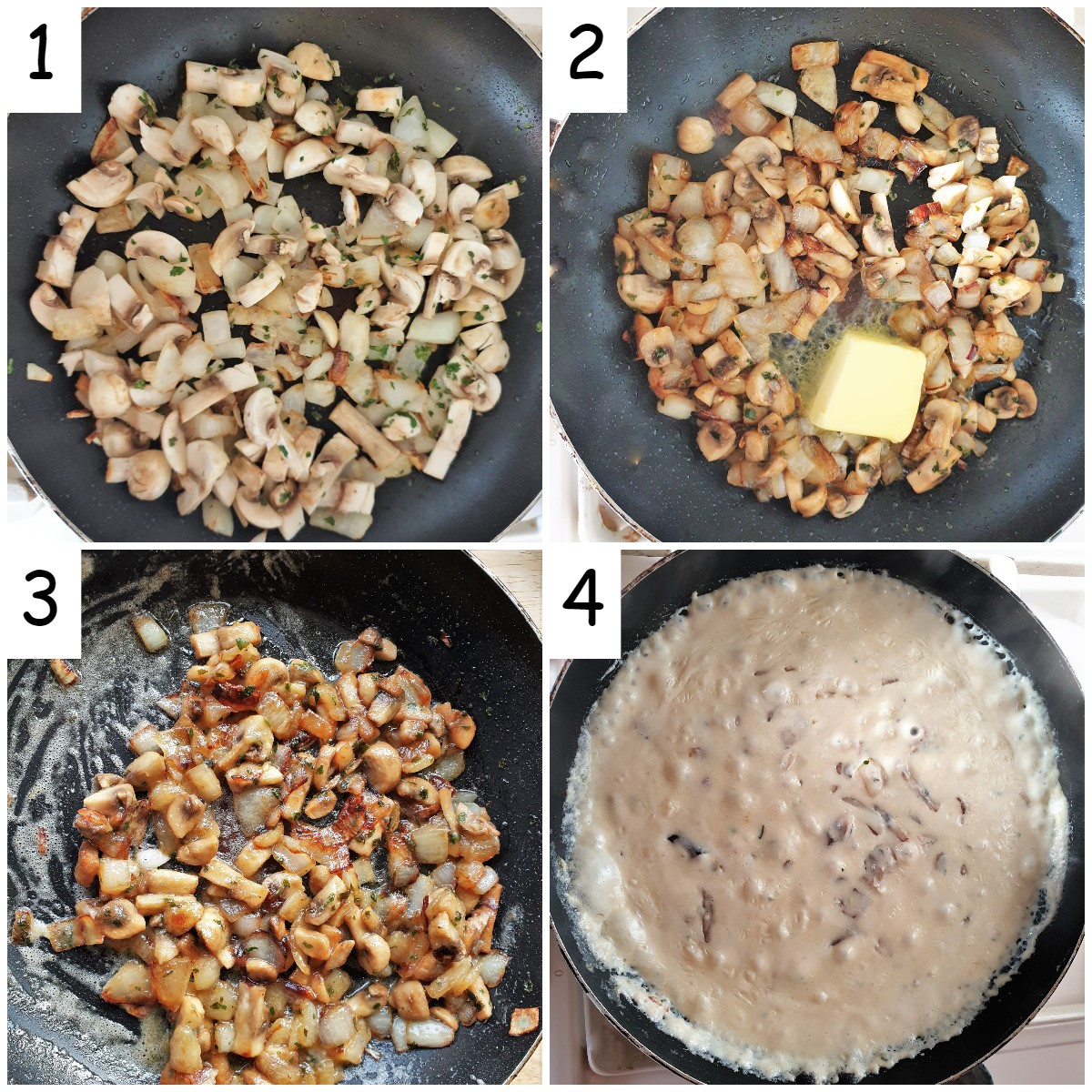 Collage of 4 images showing how to cook the mushrooms and make the sauce for the pie.