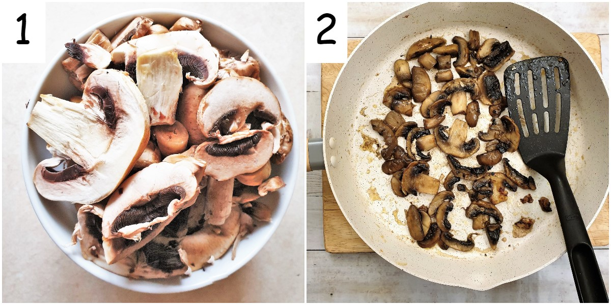 Mushrooms in a dish and mushrooms in a frying pan.