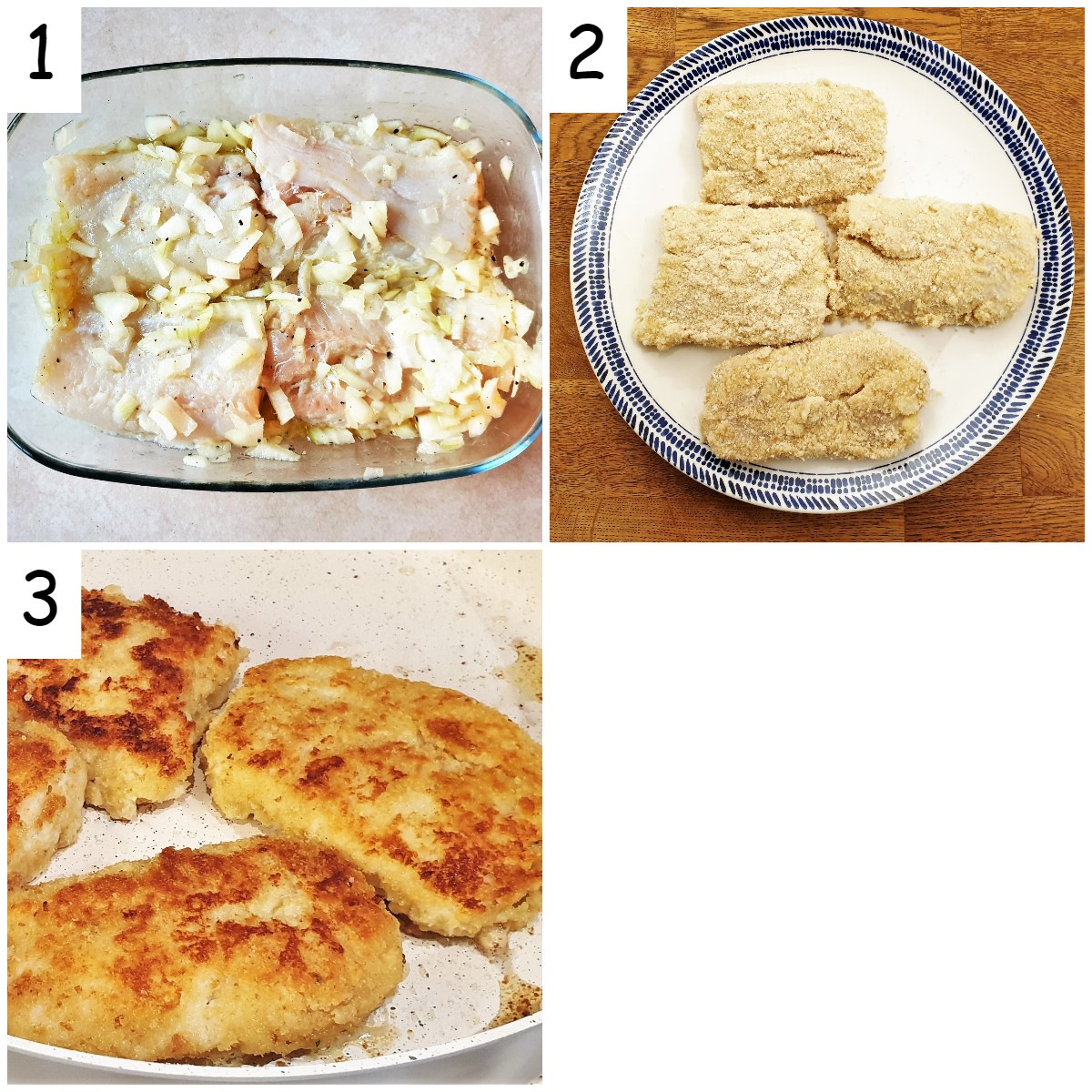 Steps for making fish milanese
