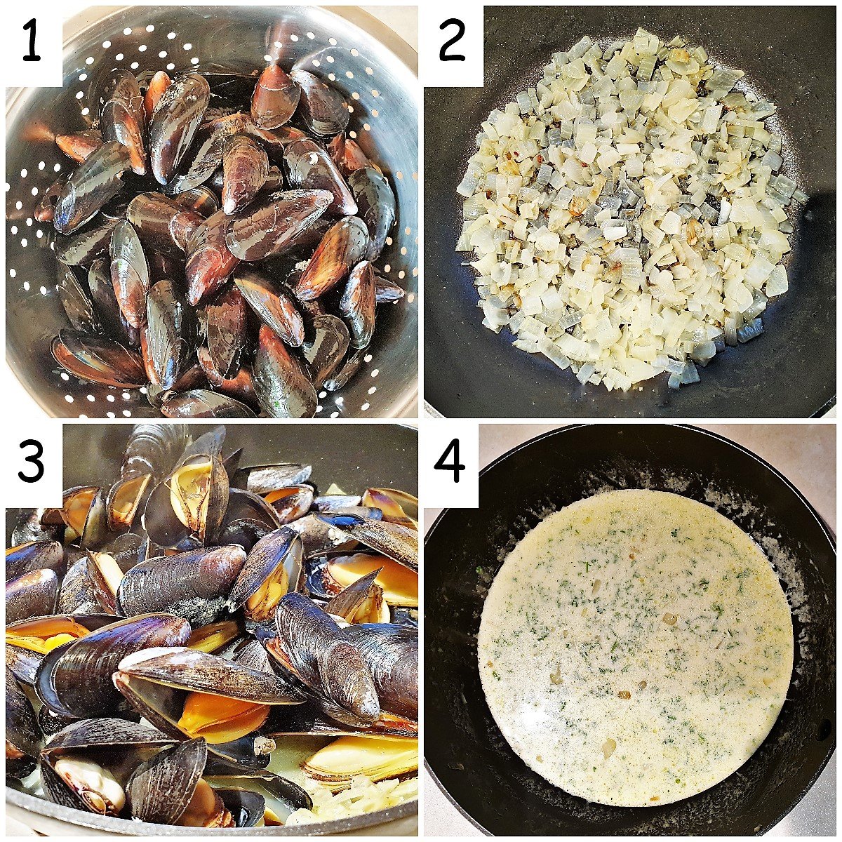 steps for cooking fresh mussels in a creamy garlic sauce.