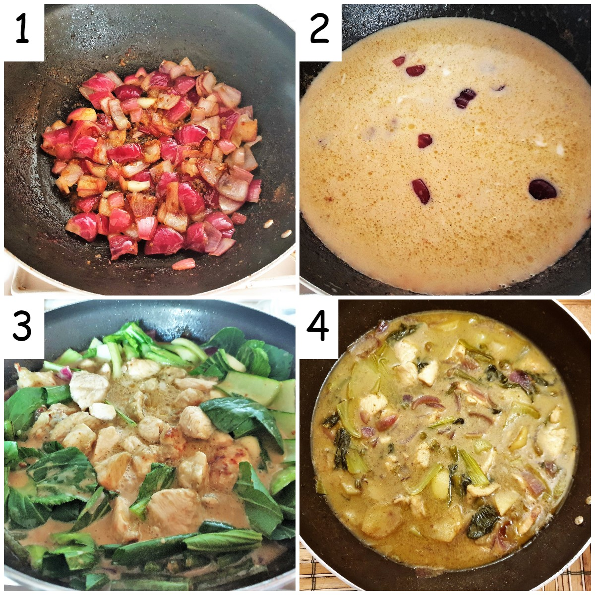 A collage of 4 images showing steps for making the curry.