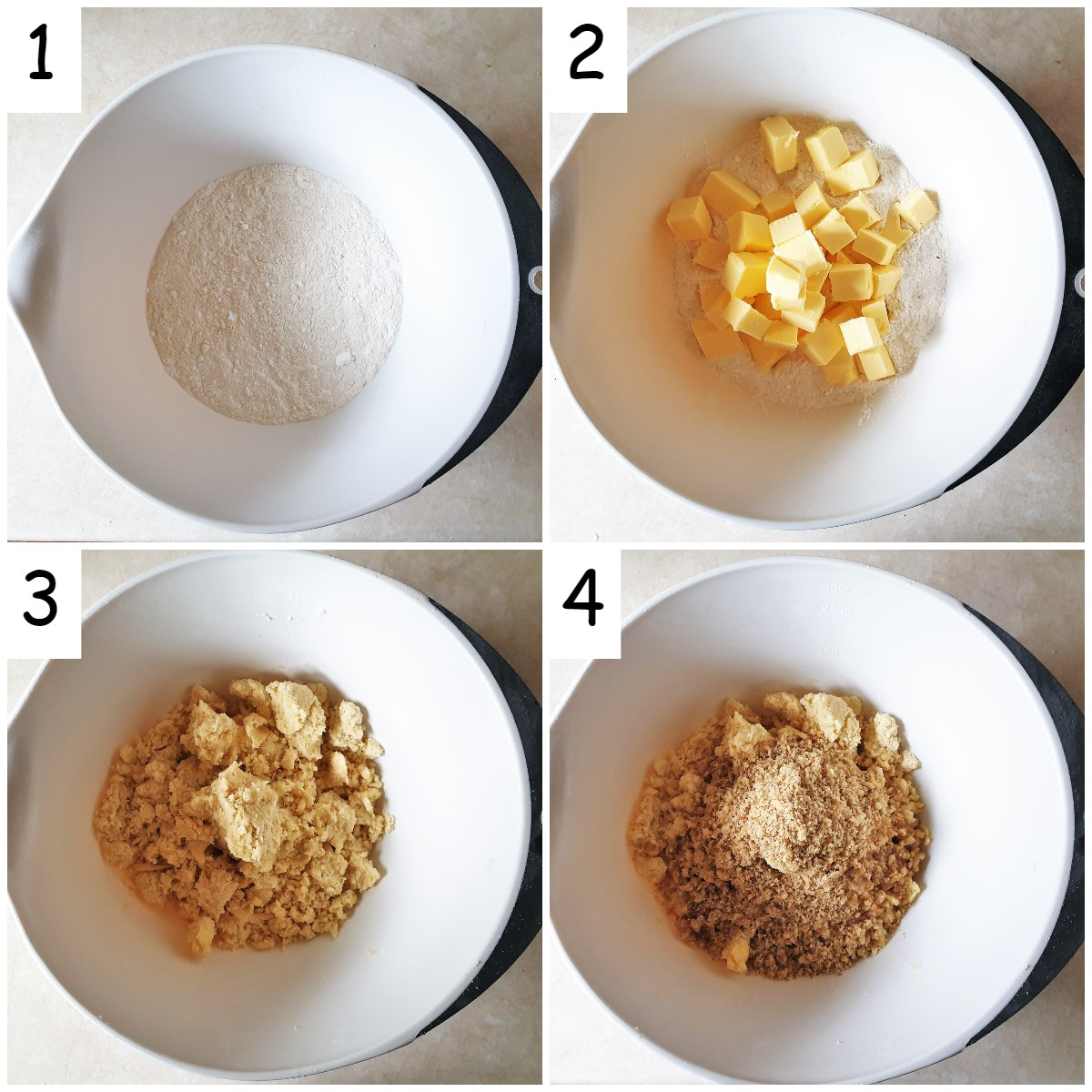 Steps to mix walnut crescent cookies.