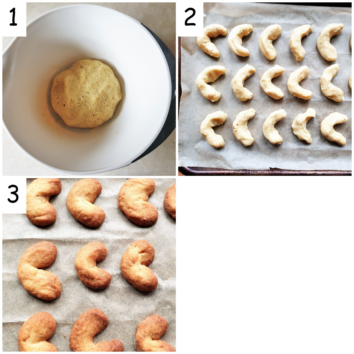Steps to roll and bake walnut crescent cookies