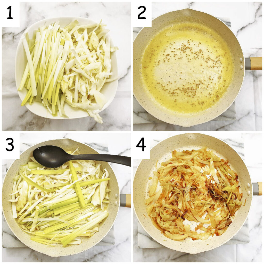 Steps for making buttered cabbage and leeks with mustard seeds.