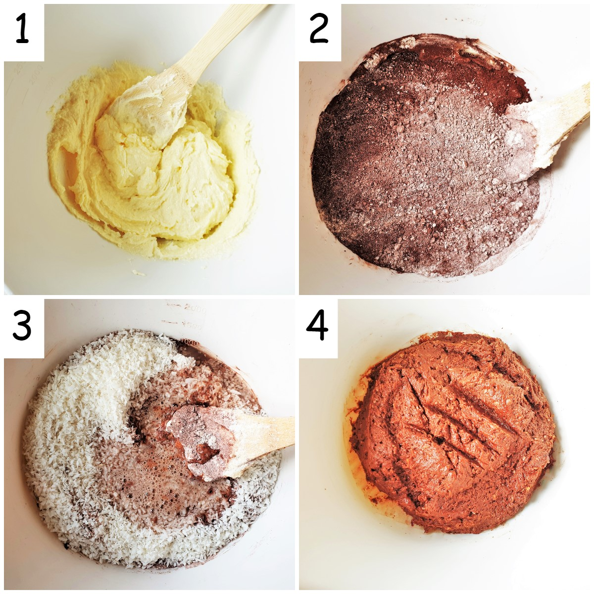 Steps for mixing Romany Creams.