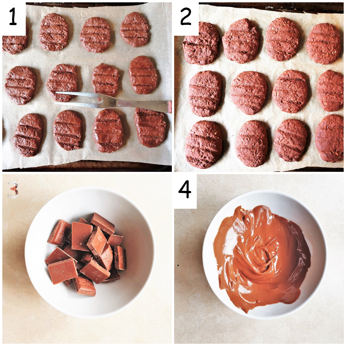 Steps for baking the biscuits and sandwiching with melted chocolate.