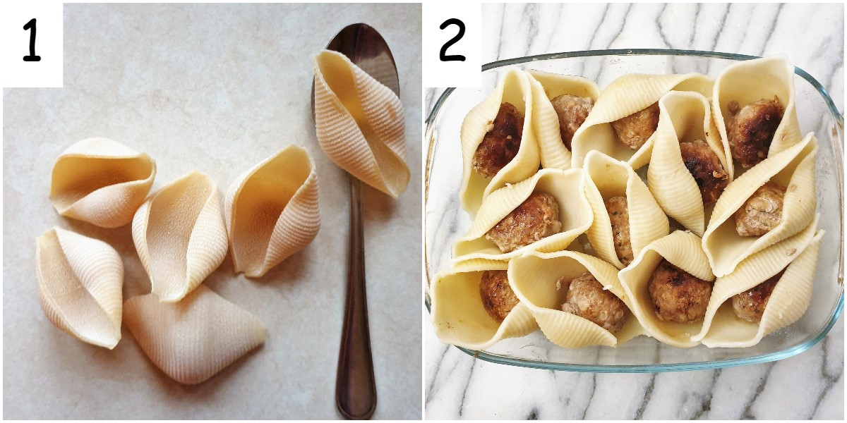 Jumbo pasta shells next to a spoon, and a dish of pasta shells each containing one meatball.