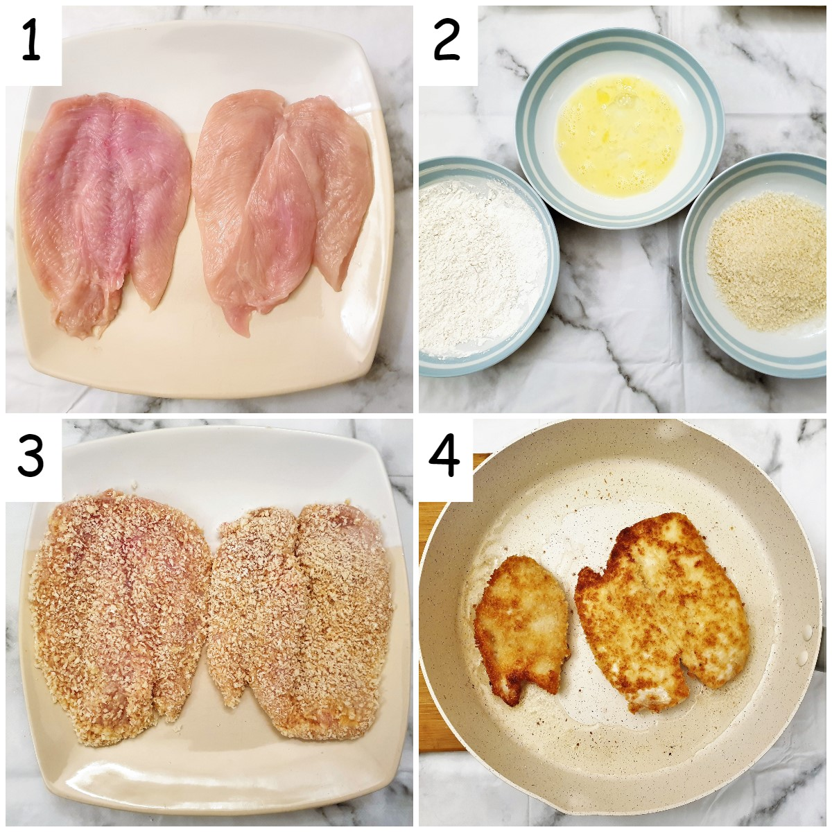 Steps for coating and frying chicken schnitzels.