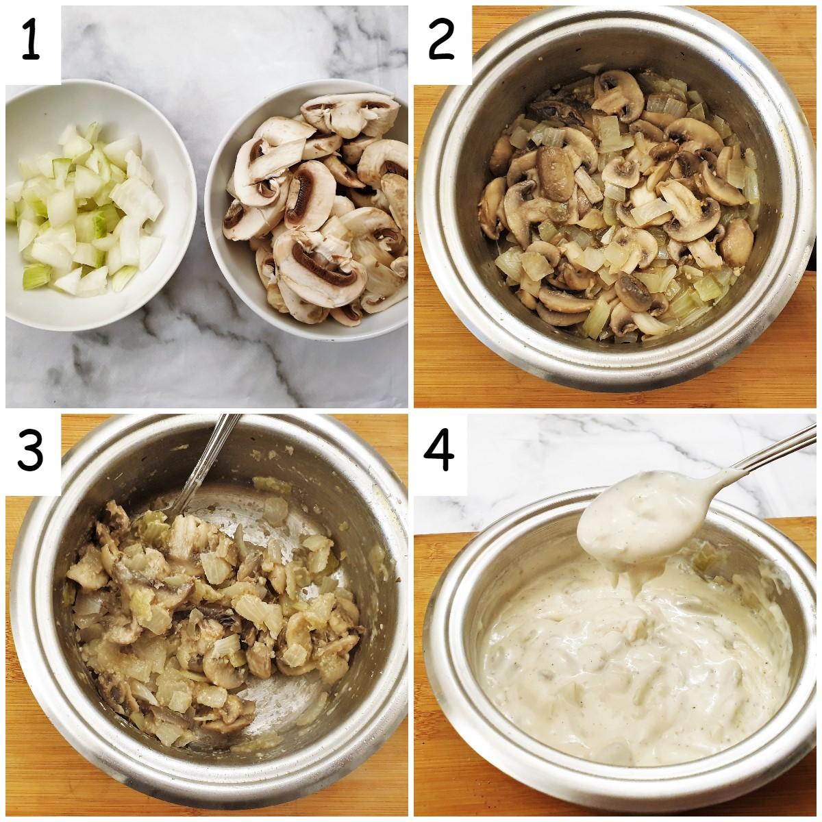 Steps for making creamy mushroom sauce.