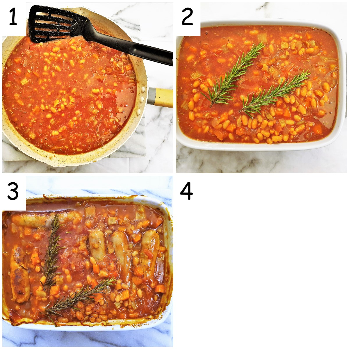 Steps for assembling a sausage and bean casserole.