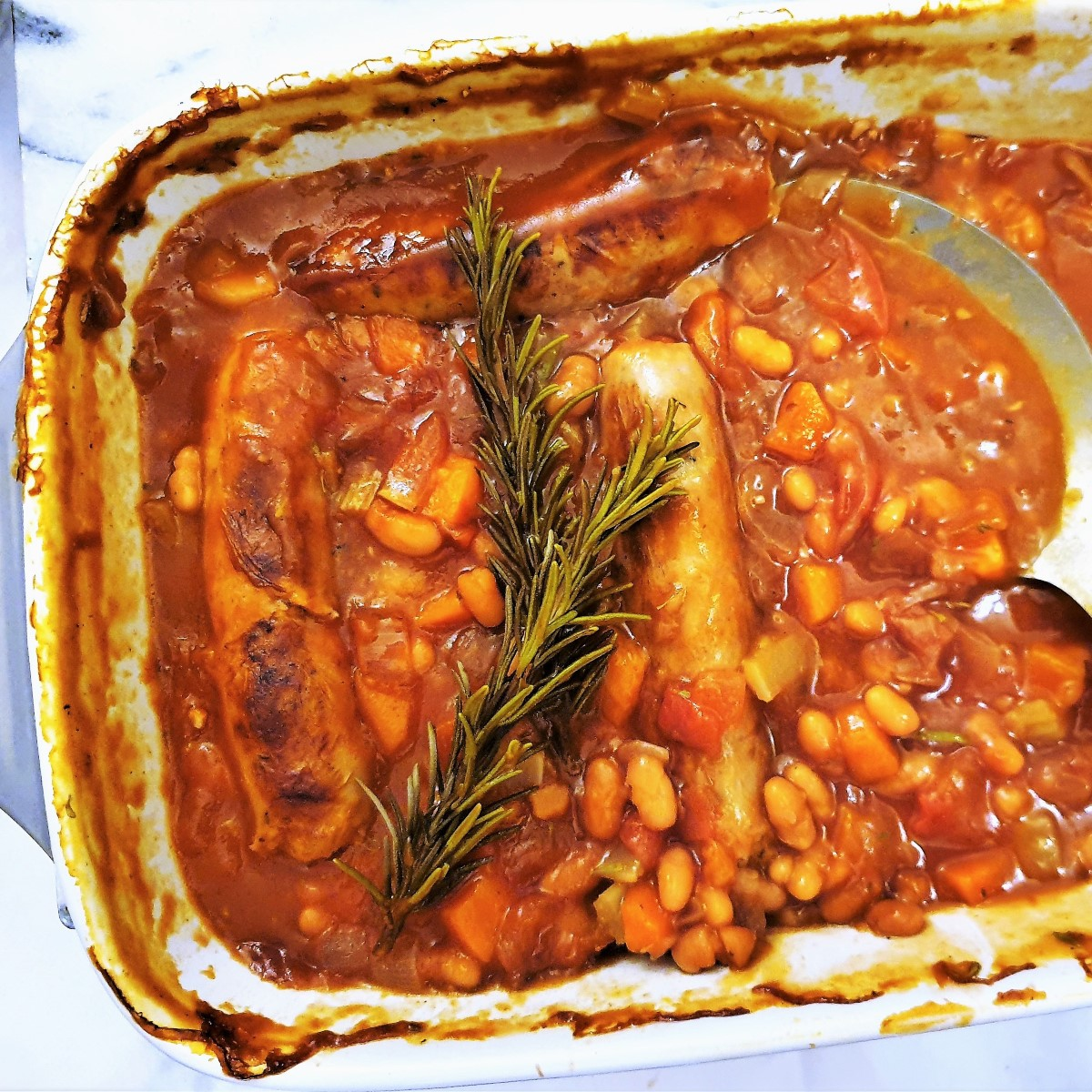 Overhead shot of sausage and bean casserole.