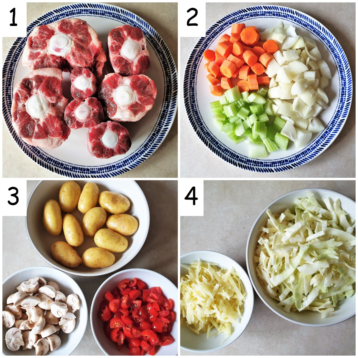 Ingredients for slow cooker oxtail stew.