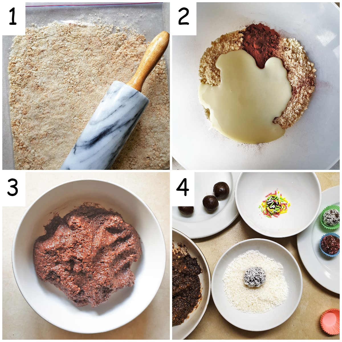 Steps for making Baileys chocolate truffles.
