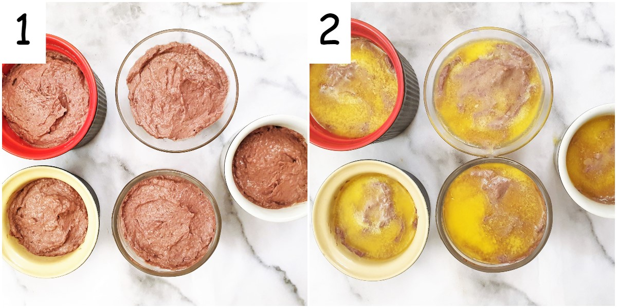 5 ramekins of pate before and after covering with a layer of butter.