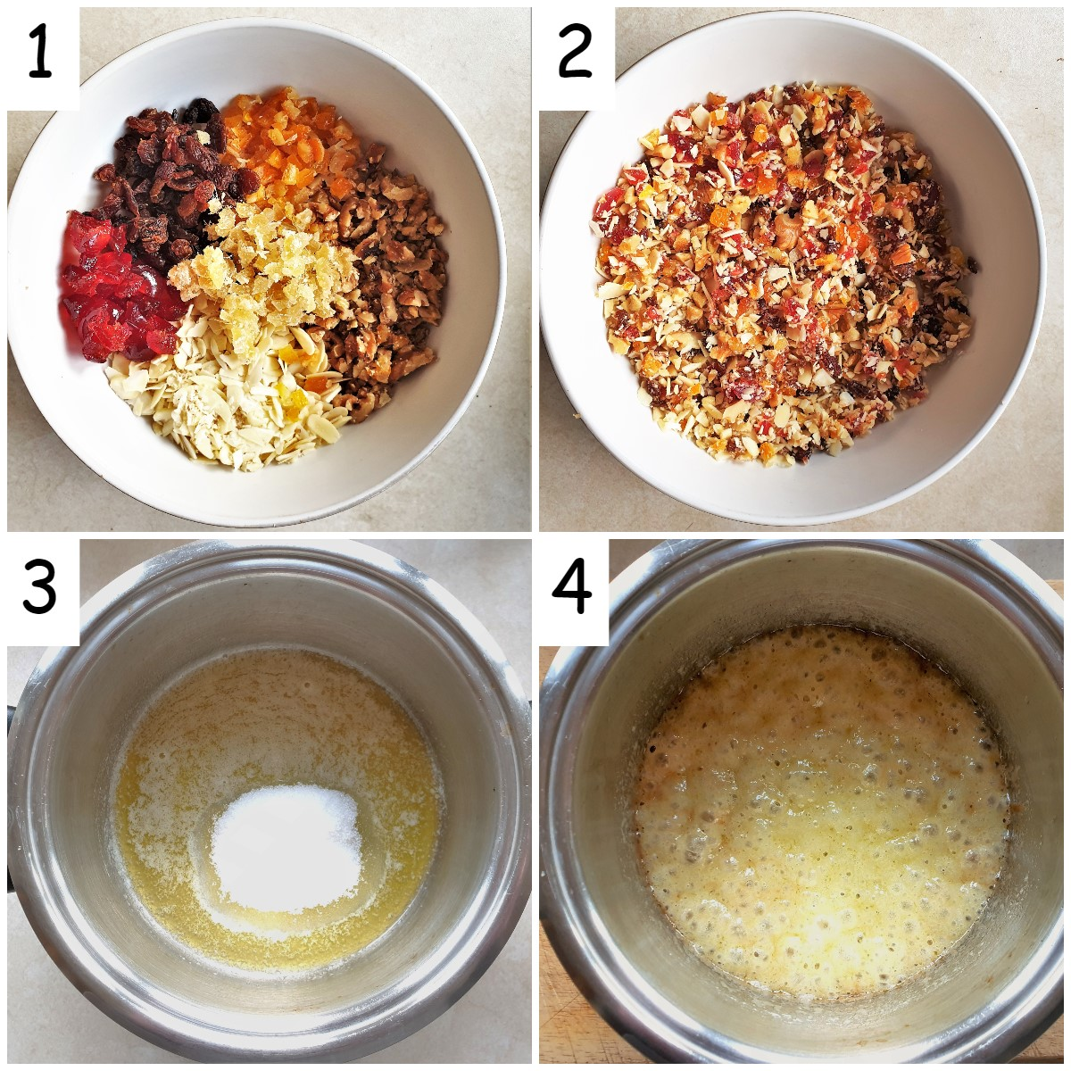 Steps for mixing the florentines.