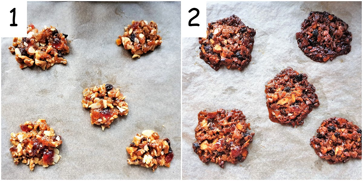 Florentines on a baking tray, both before and after baking.