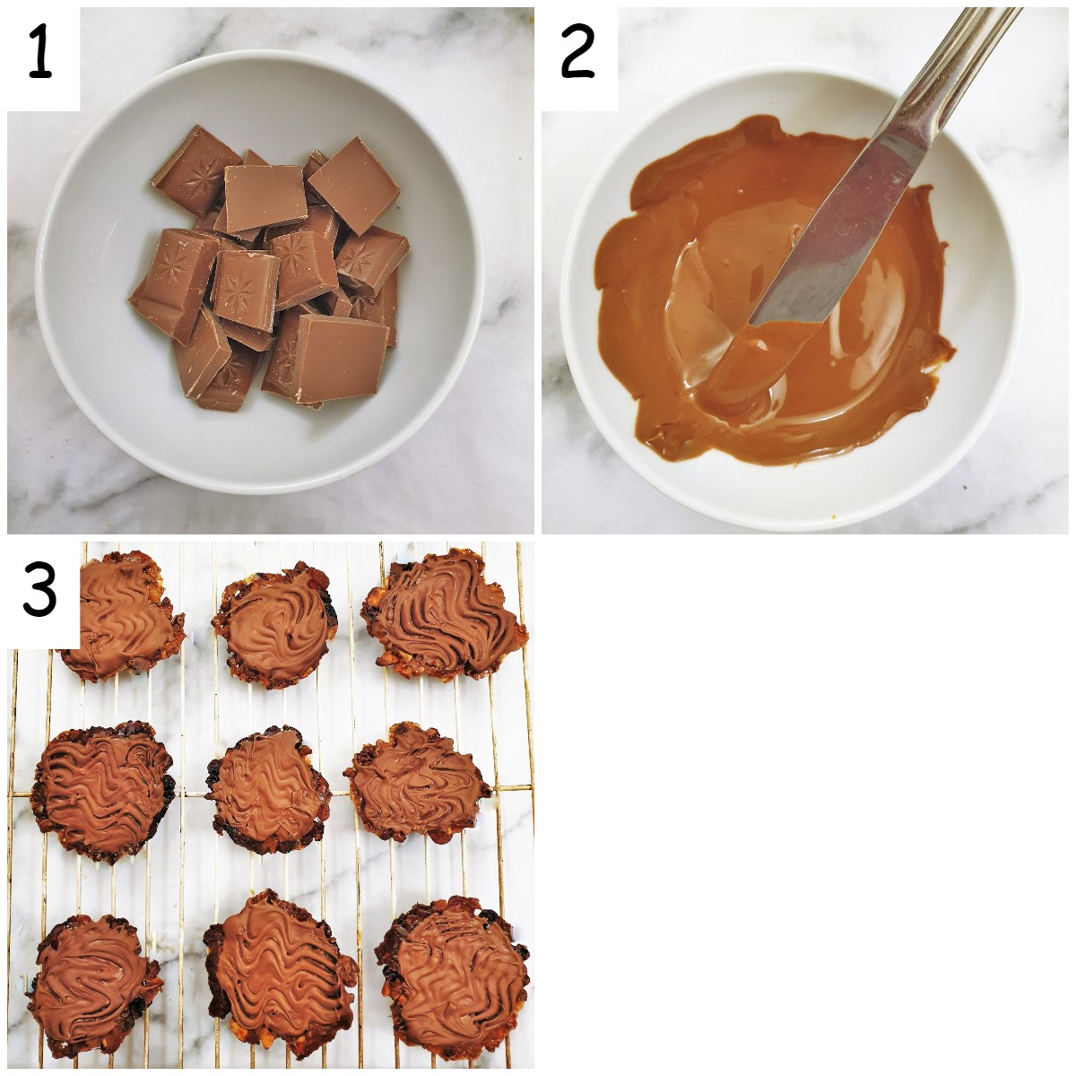 Steps for coating the florentines with chocolate.