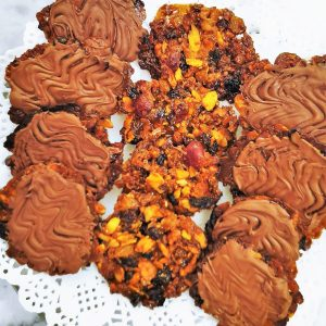 Close up of chocolate coated florentines.
