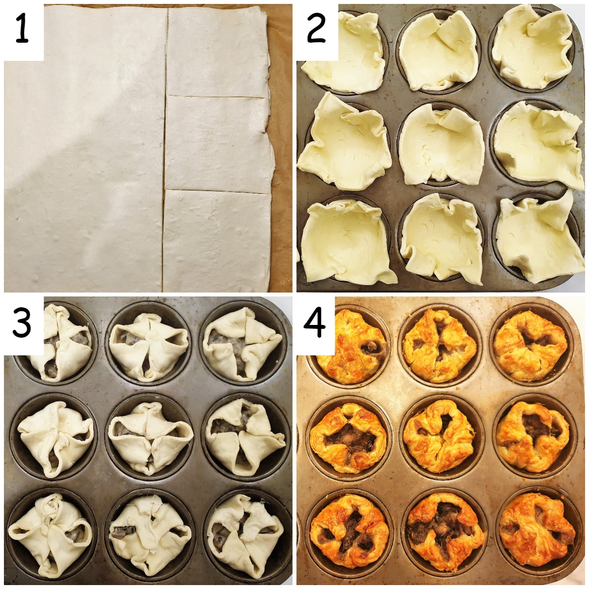 Steps for assembling and baking the mushroom tarts.