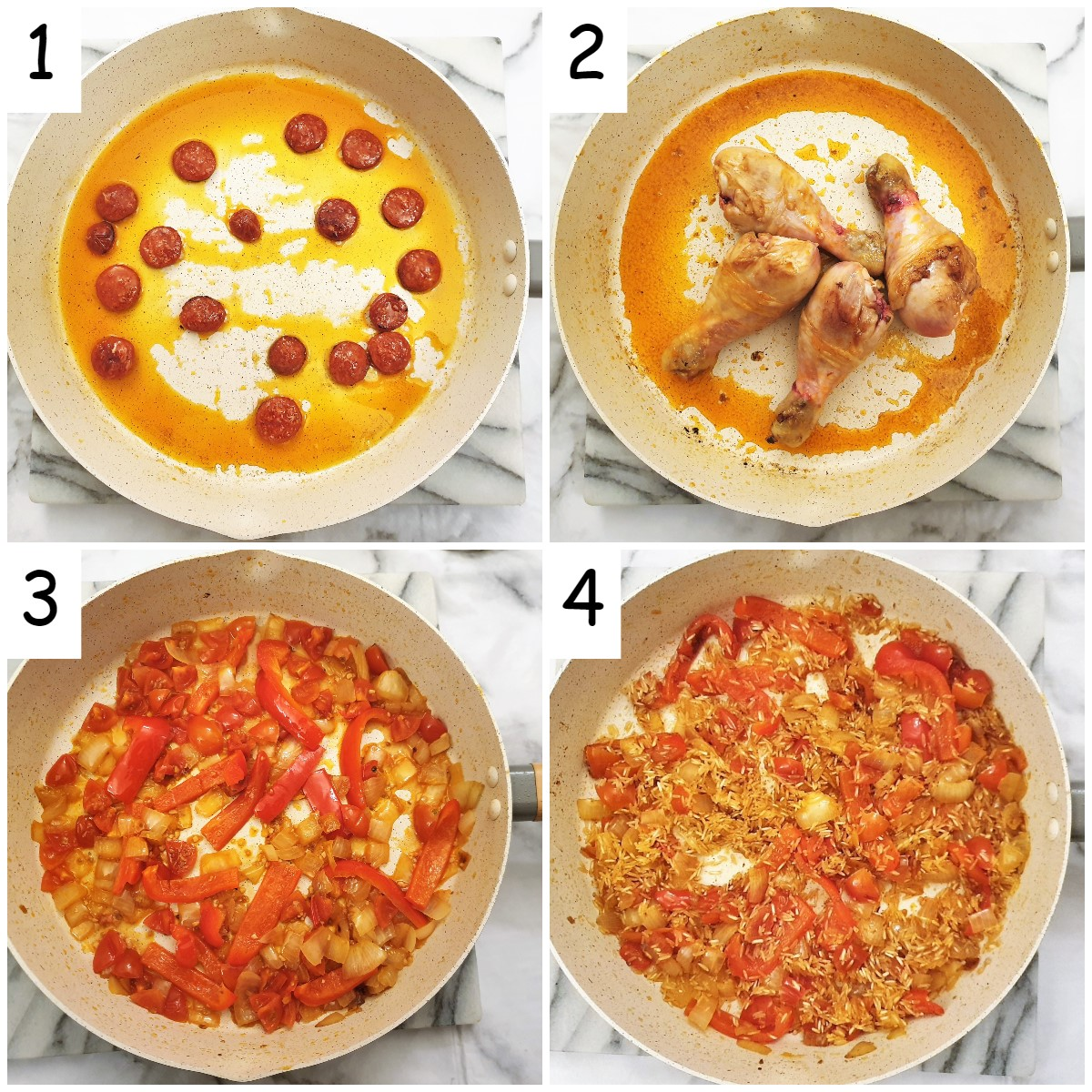 Steps for making the paella