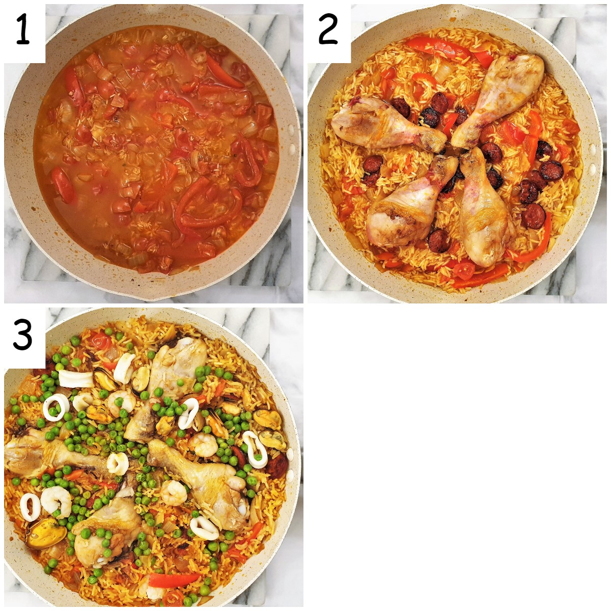 Steps for assembling the paella.