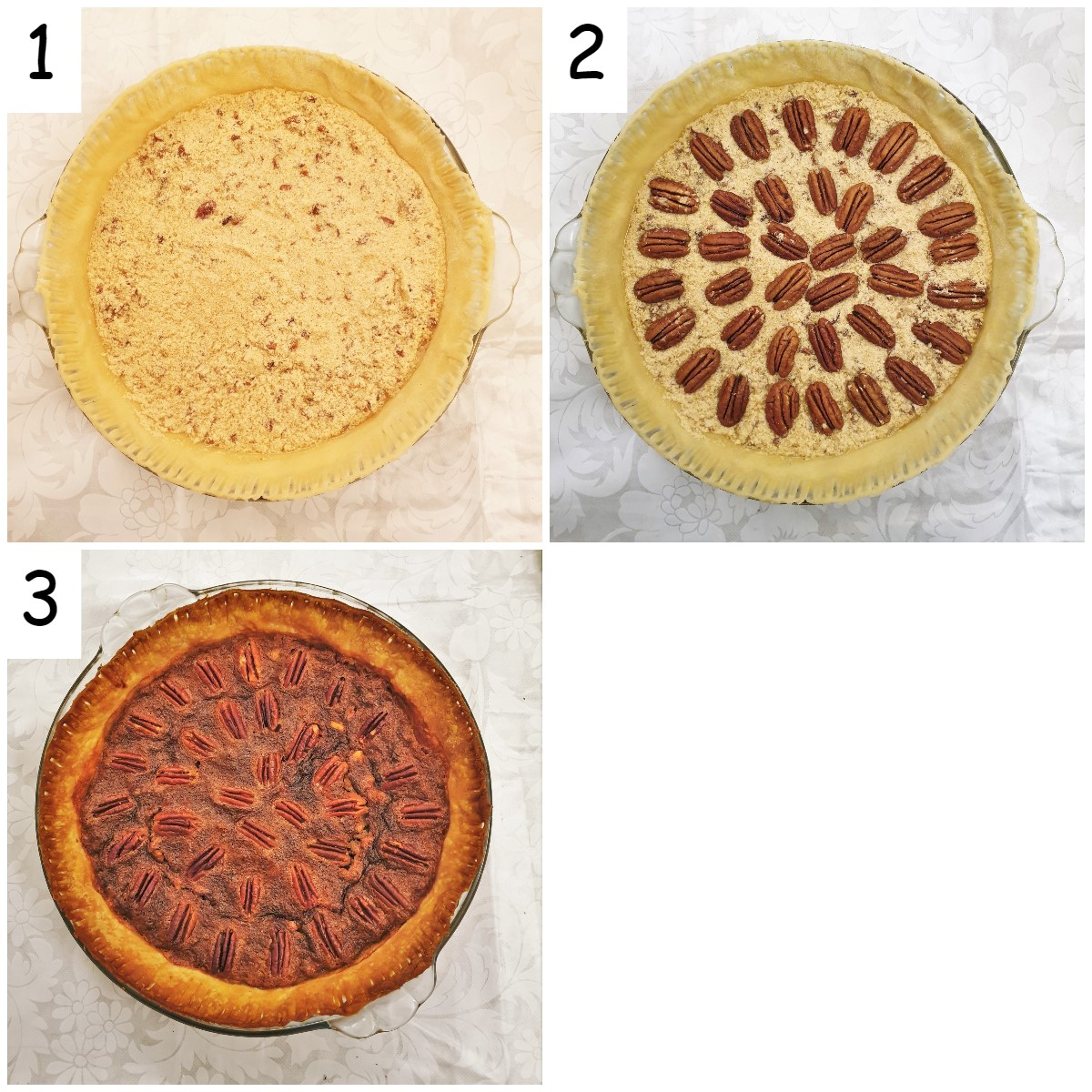 Steps to assemble the pie.