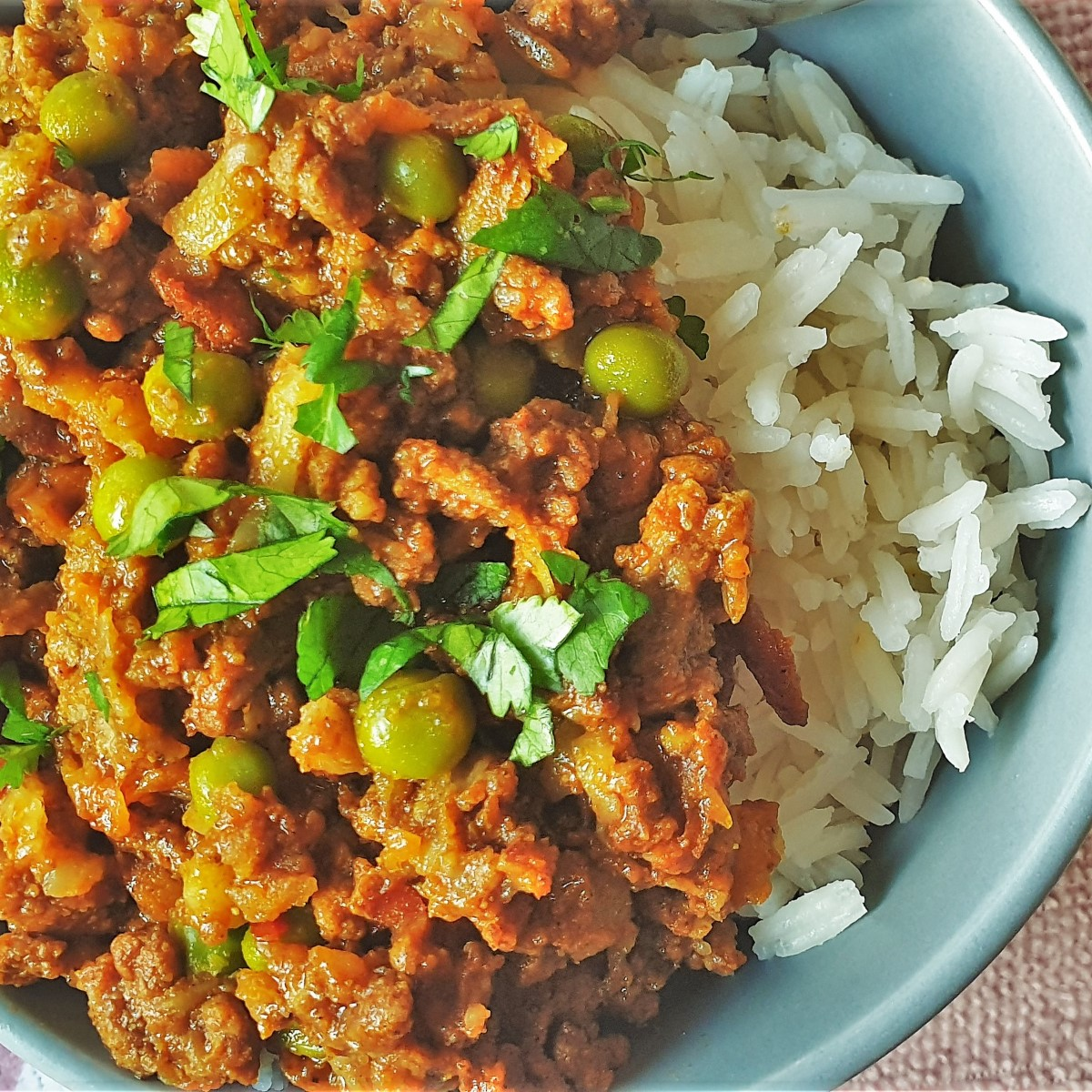 Close up of spicy beef curry and rice.