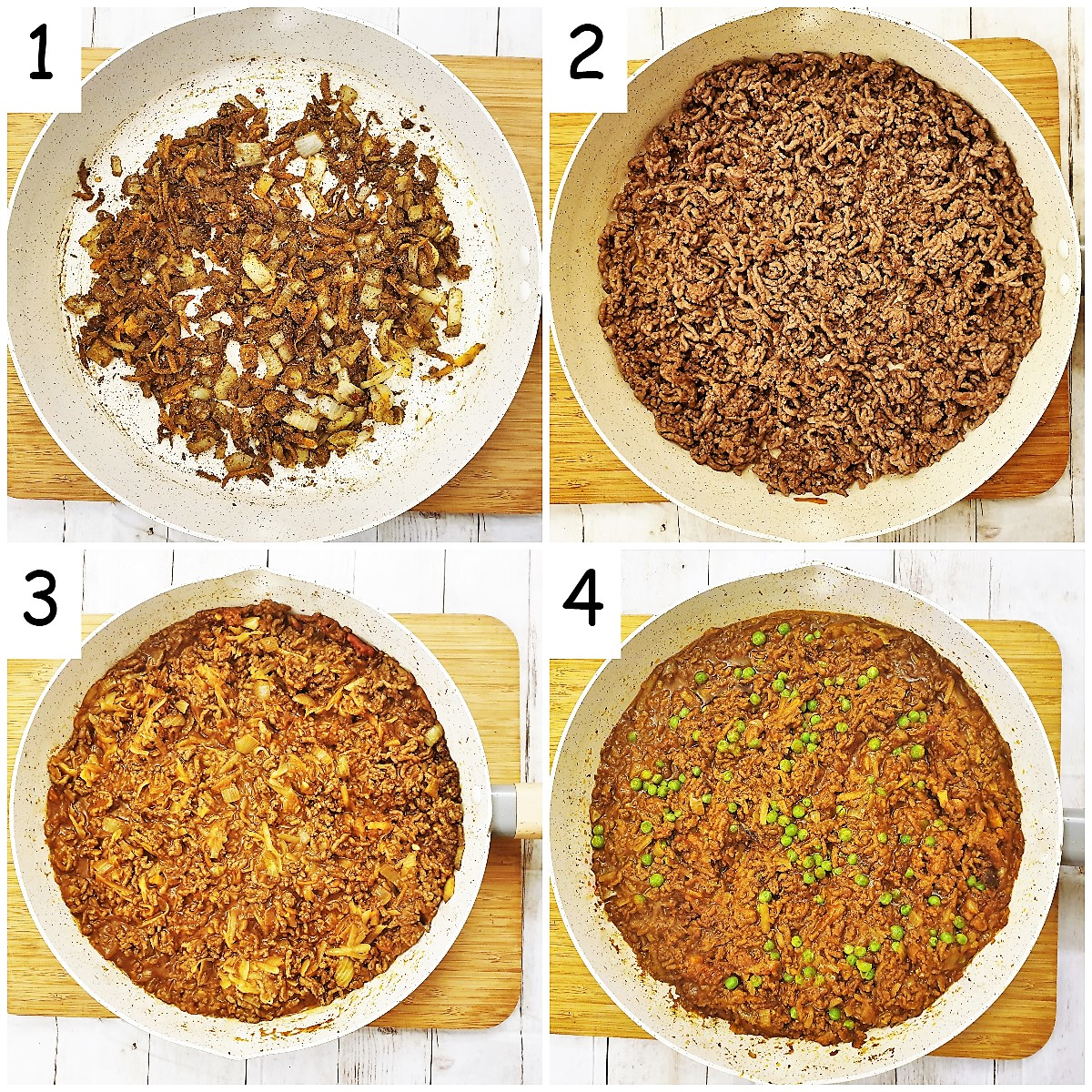 Steps for making the curry