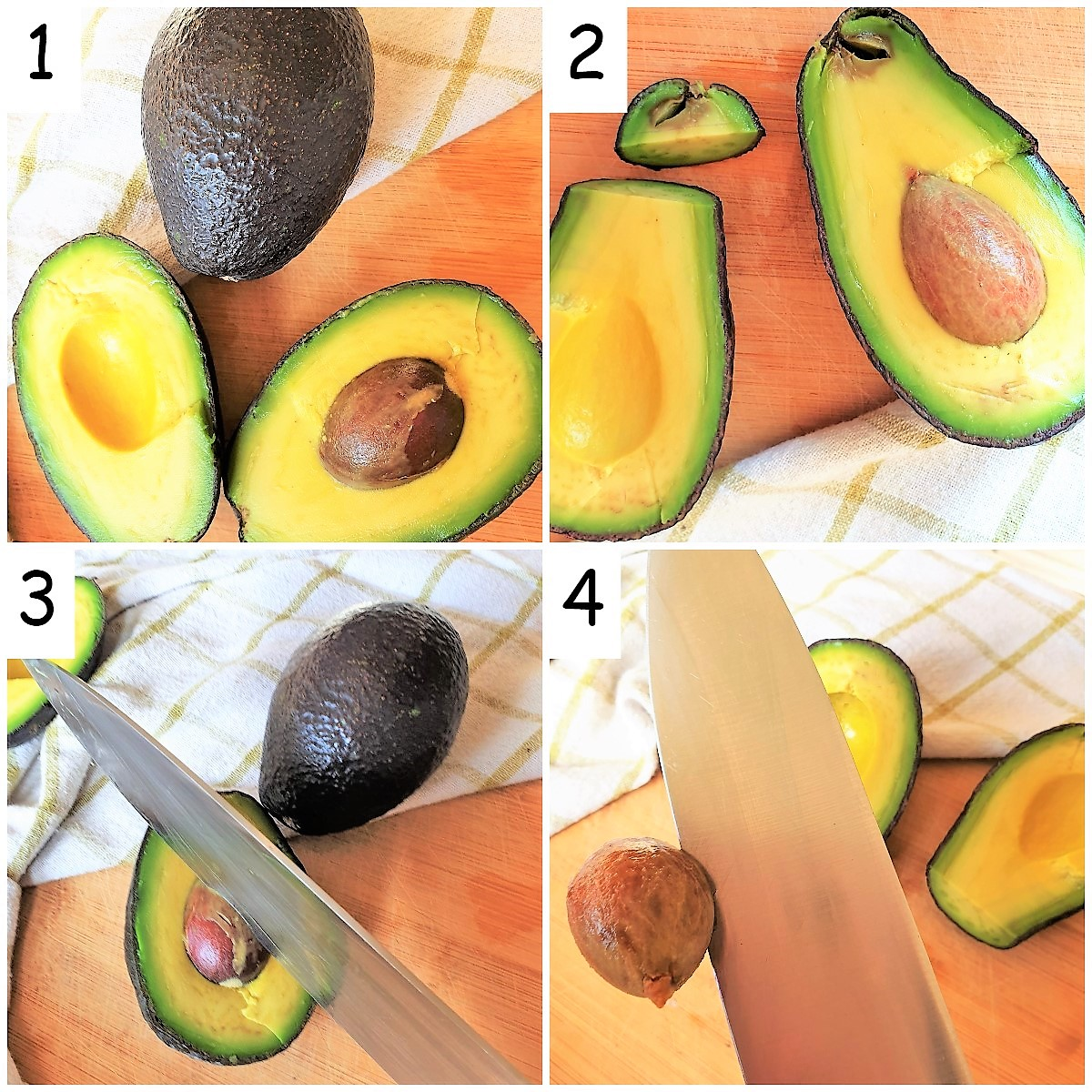 Steps for cutting an avocado and removing the stone.