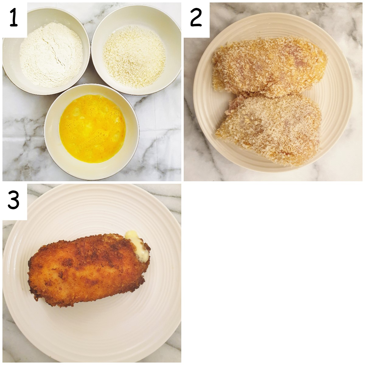 Steps for coating and frying the chicken.