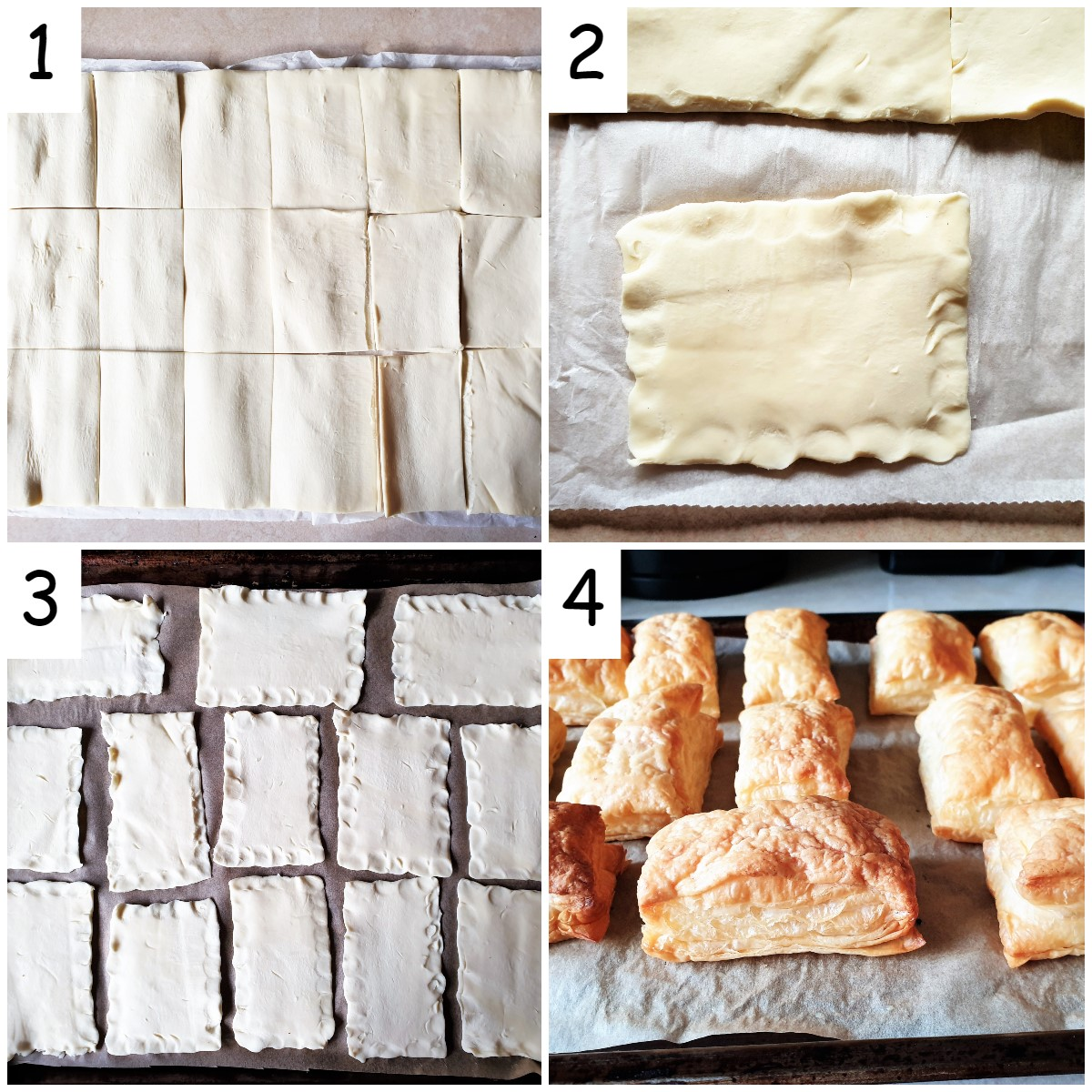 Steps for baking the puff pastry for custard slices.