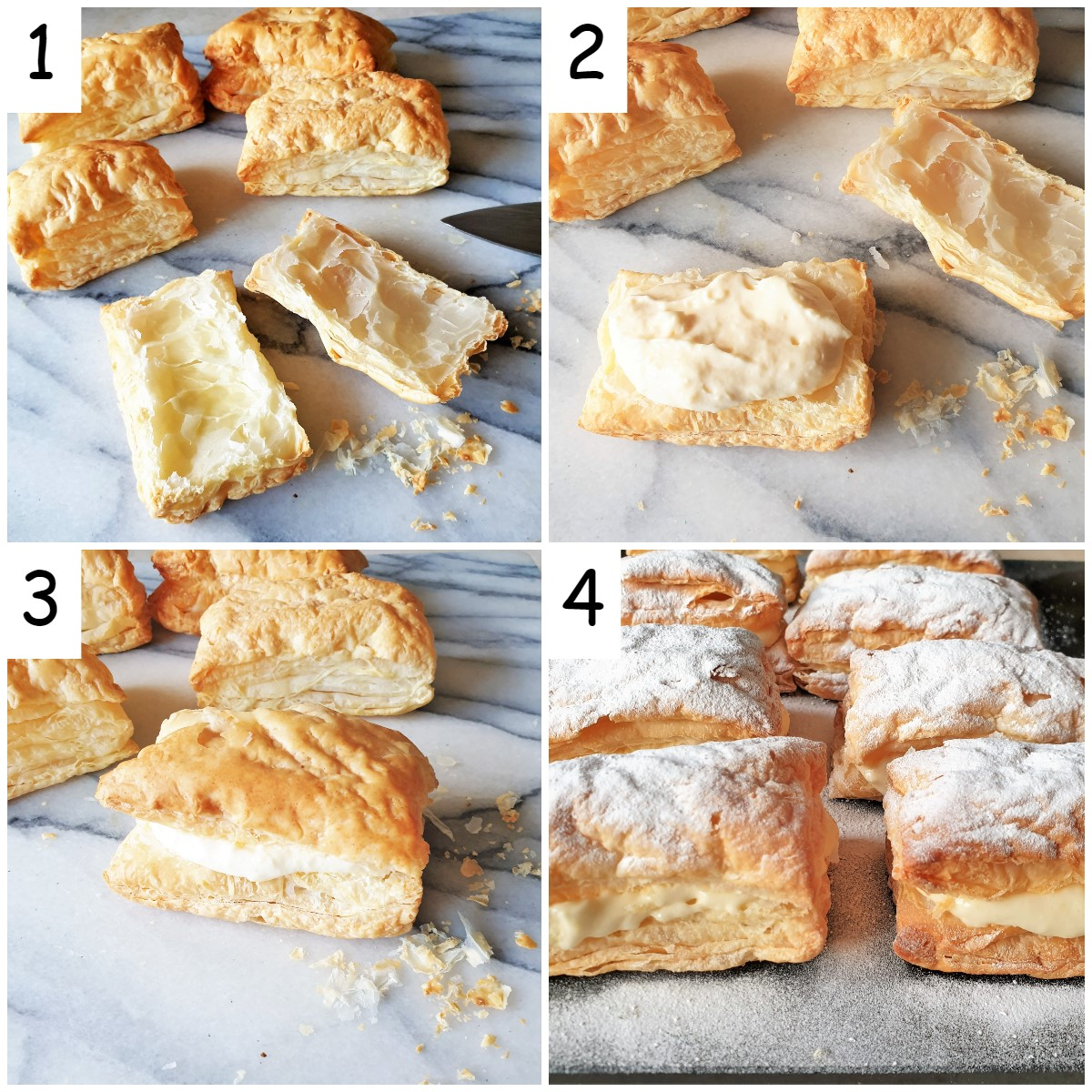 Steps for filling a custard slice with creme patissiere.