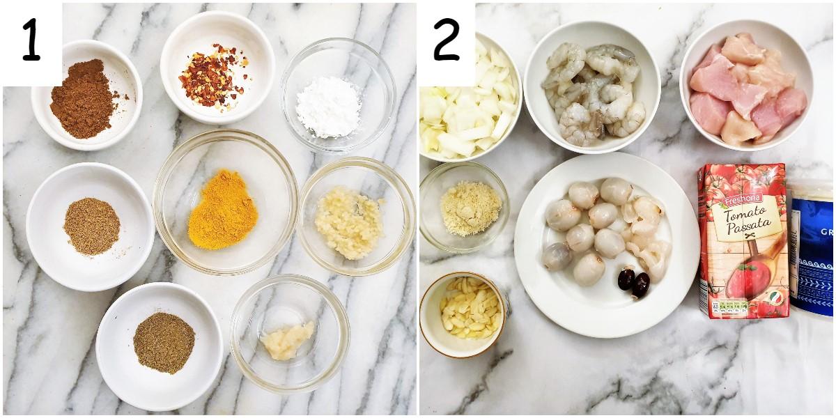Ingredients for kashiri chicken and prawn curry.
