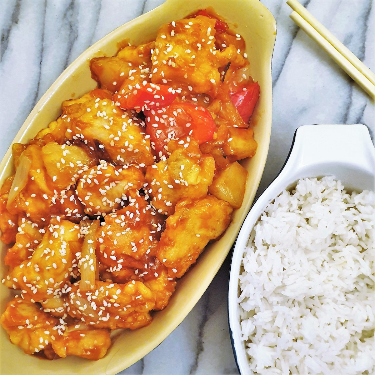 Overhead shot of sweet and sour chicken.