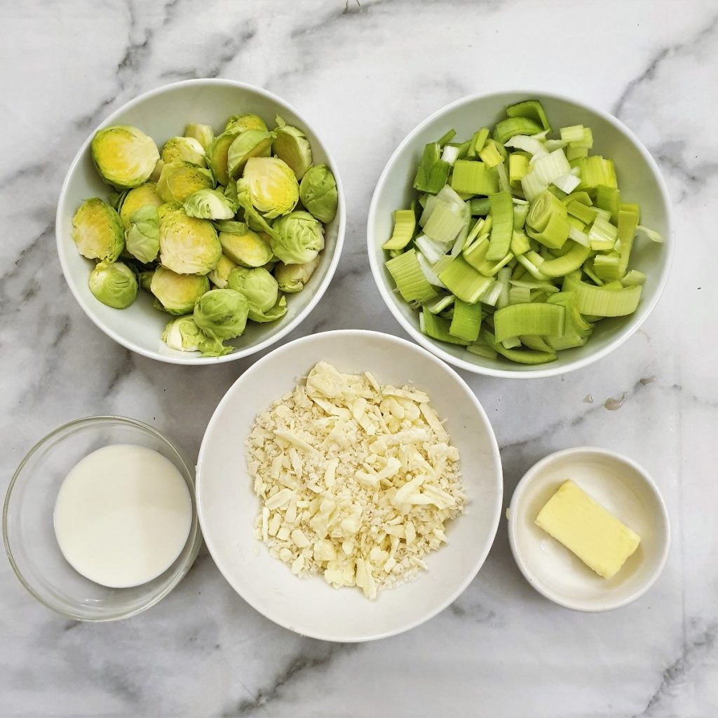 Ingredients for creamy leek and brussels sprouts bake.