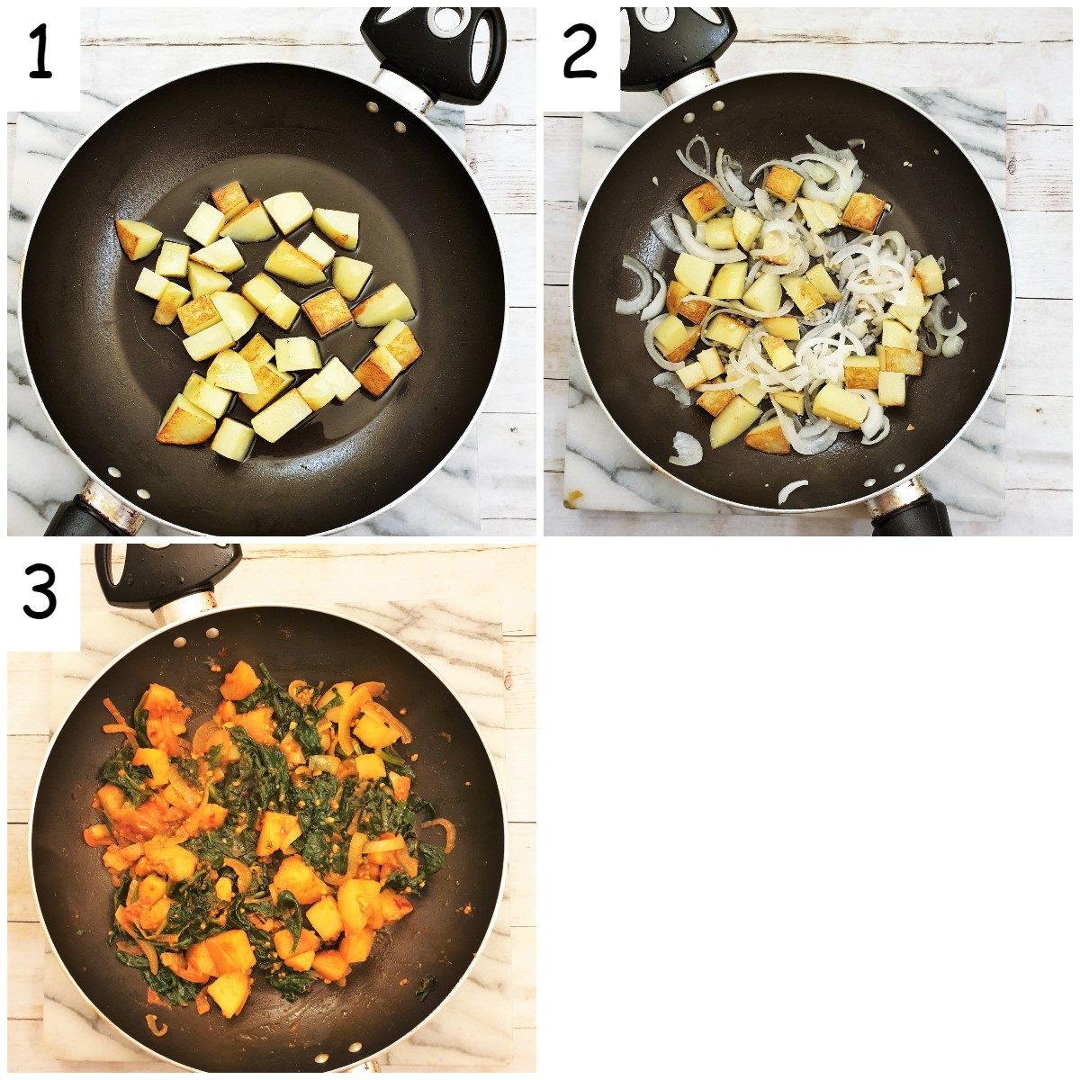 Steps to make saag aloo.
