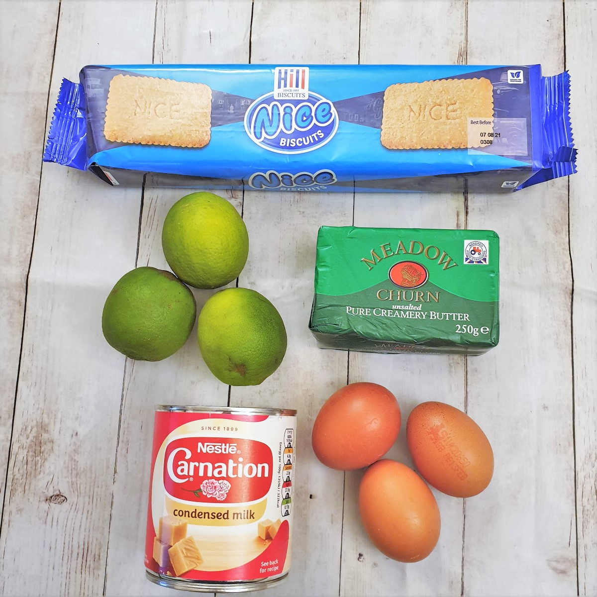Ingredients for key lime pie.