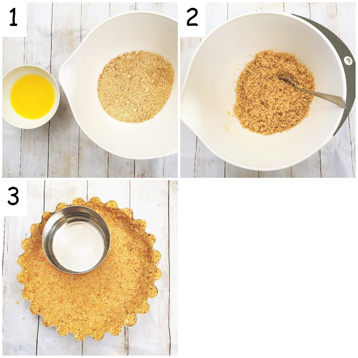 Steps for making the cookie crumb crust.