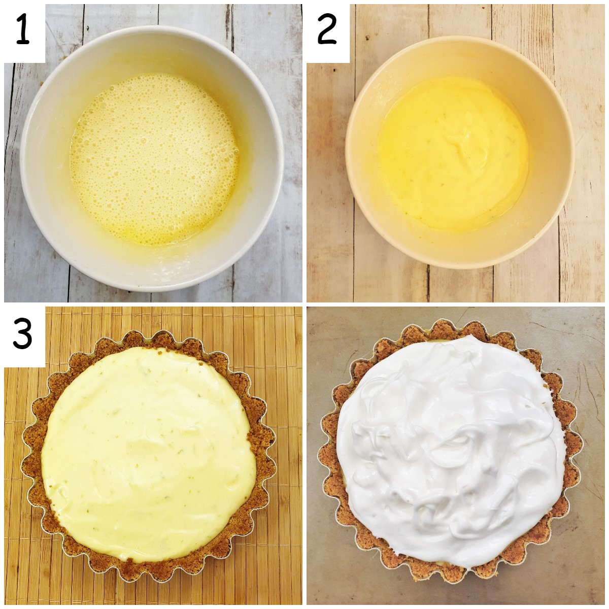 Steps for making the key lime filling.