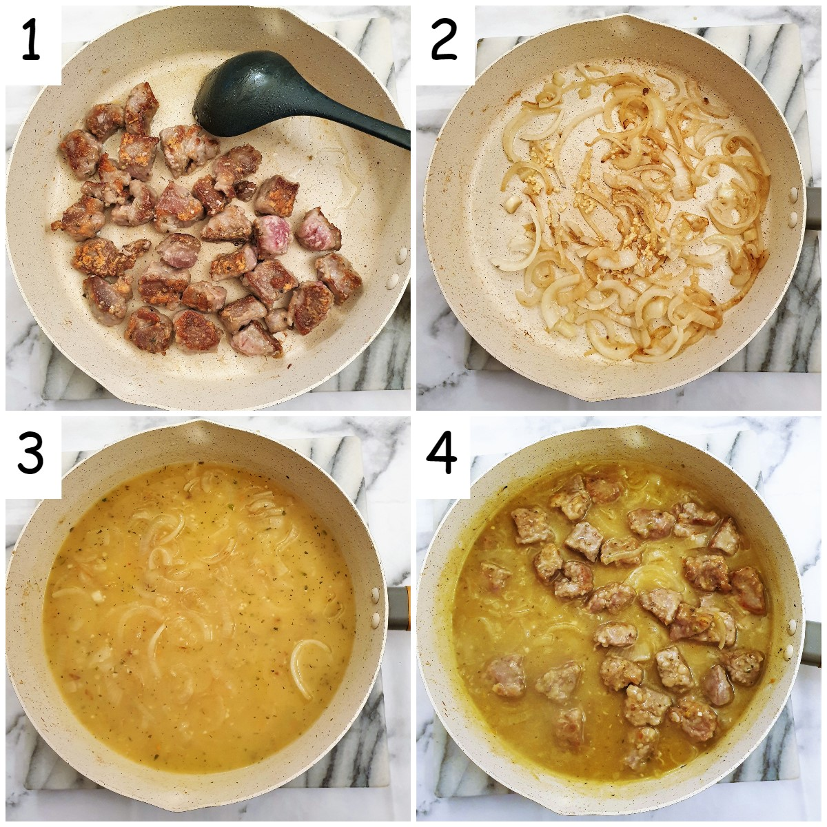 Steps for making pan-fried pork with pears and caramelized onions.