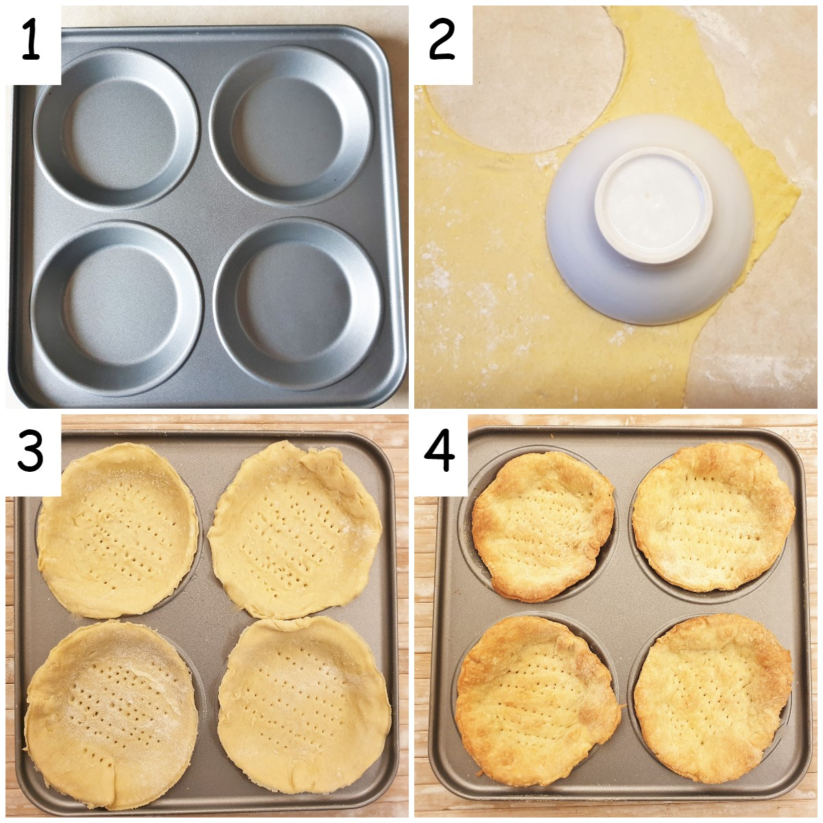 Steps for cutting the pastry and lining the baking pan.