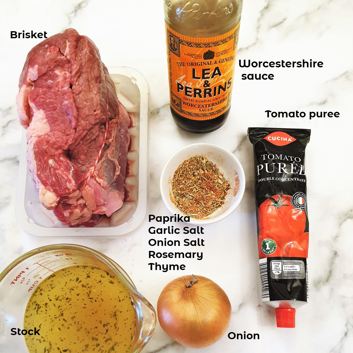 Ingredients for slow-roasted brisket