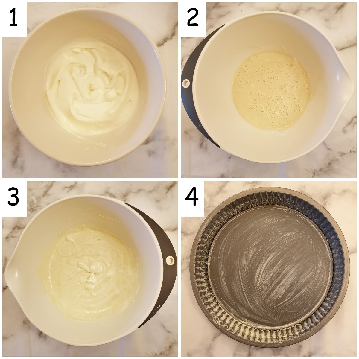 Steps for mixing the batter.