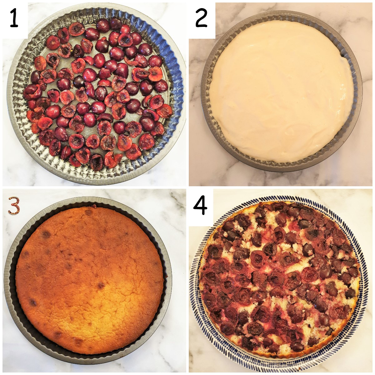 Steps for assembling the cherry cake.