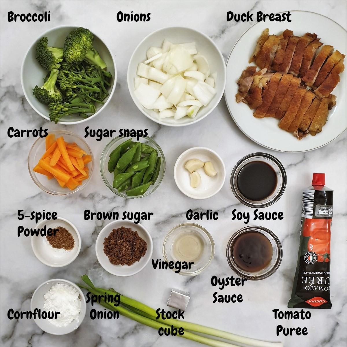 Ingredients for crispy duck in garlic sauce.